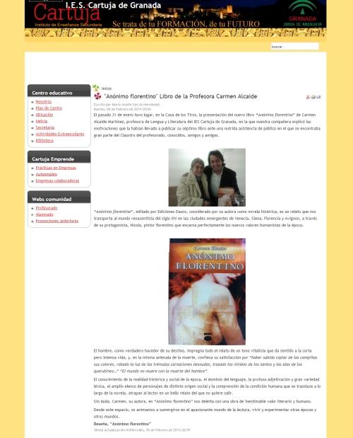 Reseña Anonimo Florentino IES Cartuja