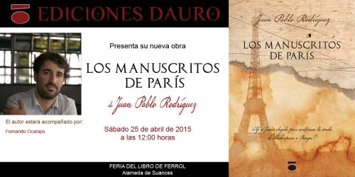 LOS MANUSCRITOS DE PARIS_invitacion FERIA DEL LIBRO_FERROL